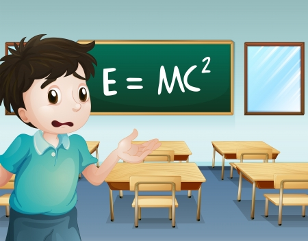 Illustration of a boy in the classroom Vector