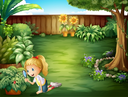 glass fence: Illustration of a girl studying the plants in the garden Illustration