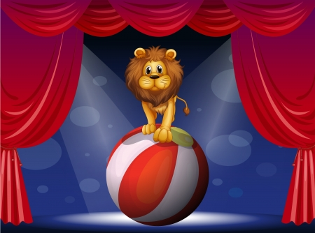 centerstage: Illustration of a lion above a hot air balloon Illustration