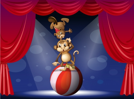 centerstage: Illustration of a  beaver and a monkey perfoming on the stage Illustration