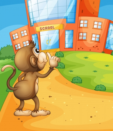 Illustration of a monkey wondering in front of the school Vector