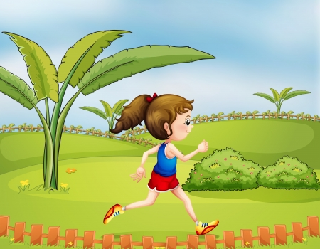 jogging track: Illustration of a girl exercising in the park