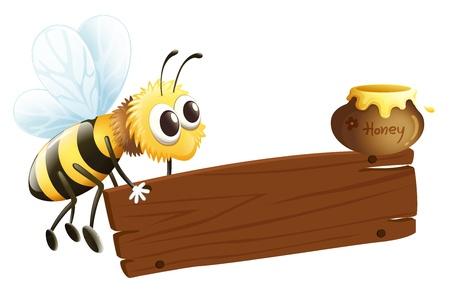 letrero: Ilustración de una abeja y la señalización vacía sobre un fondo blanco
