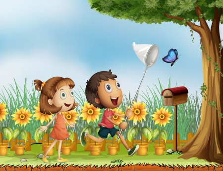 trying: Illustration of children trying to catch a butterfly