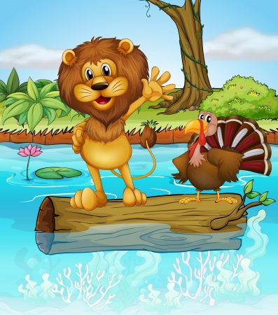 lion tail: Illustration of a lion and a turkey above a floating wood
