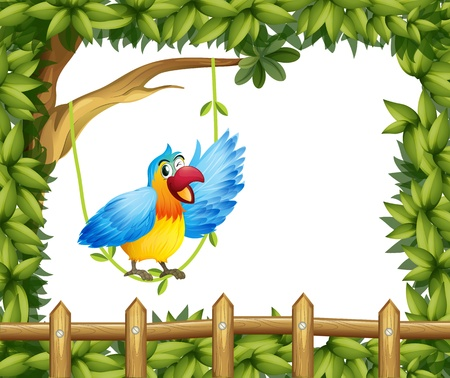 macaw parrot: Illustration of a parrot and the leafy green border