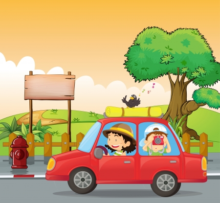 birds scenery: Illustration of a girl driving and a boy taking pictures