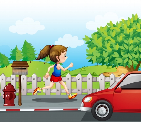 Illustration of a girl jogging in the street Vector