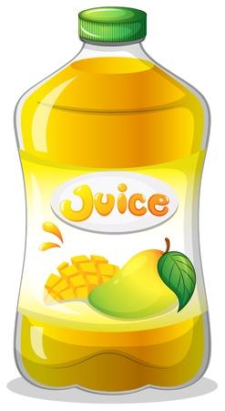 mango juice: Illustration of a bottle of juice on a white background Illustration
