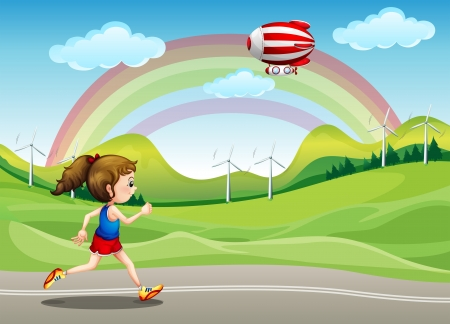 Illustration of a girl running in the road and an airship above her Stock Vector - 17821566