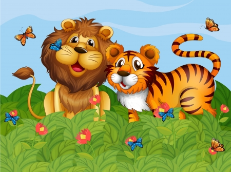 Illustration of a lion, tiger and the butterflies in the garden Stock Vector - 17821639