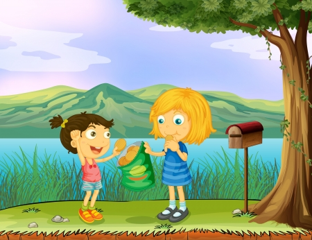 generosity: Illustration of a girl sharing her bread near a mailbox Illustration