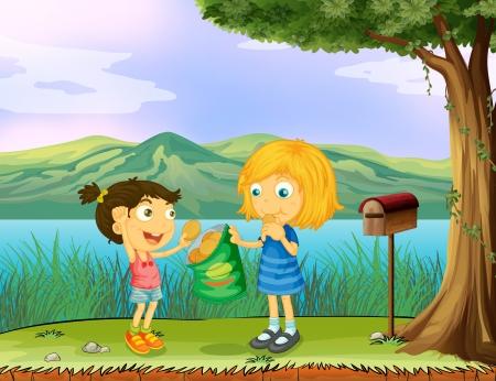 generosity: Ilustración de una niña compartiendo su pan cerca de un buzón