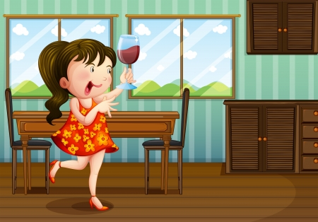 Illustration of a girl holding a glass of wine Illustration