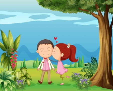 love pic: Illustration of lovers in the hills