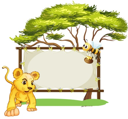 baby on board: Illustration of a young tiger and a bee near an empty signage on a white background