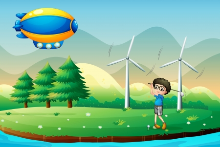 Illustration of a boy playing golf in the field with windmills Stock Vector - 17821635