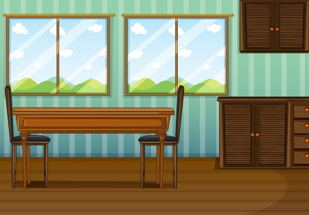 dining room: Illustration of a clean dining room with wooden furnitures