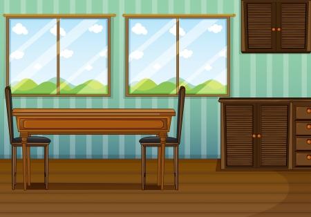 cocina caricatura: Ilustración de un comedor limpio con muebles de madera