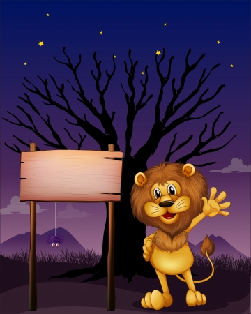 Illustration of a lion waving beside an empty board Stock Vector - 17821655
