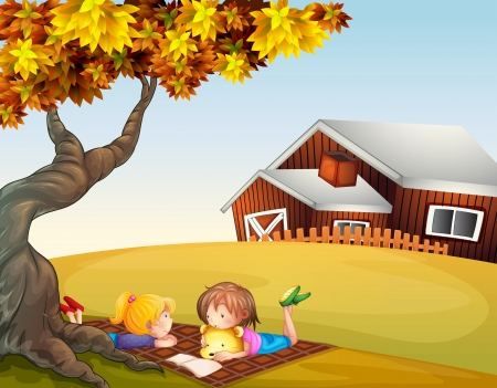 picnic blanket: Illustration of kids reading under a big tree Illustration