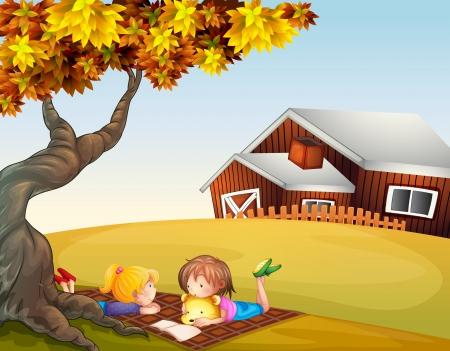 mujer leyendo libro: Ilustración de los niños leyendo bajo un árbol grande