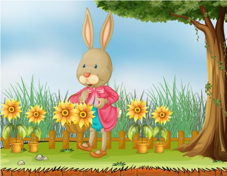 Illustration of a bunny in the garden with sunflowers Vector