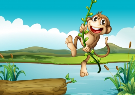 river bank: Illustration of a cheerful monkey playing with the vine plant