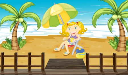 tropical drink: Illustration of a young girl relaxing at the beach