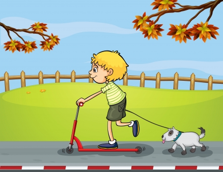 Illustration of a boy riding with his scooter followed by his pet Vector