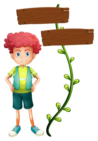 Illustration of a boy at the back of a two-plank wooden signage on a white background Vector