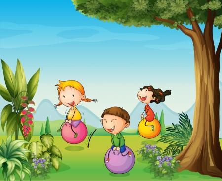 ni�os divirtiendose: Ilustraci�n de tres ni�os que se divierten con una pelota que rebota