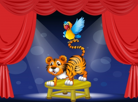 centerstage: Illustration of a tiger and a colorful parrot performing on the stage