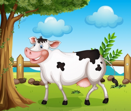 Illustration of a cow in the backyard Vector