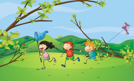 children playing outside: Illustration of kids catching the butterflies Illustration