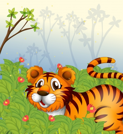 Illsutration of a tiger in the dark forest Stock Vector - 17821578