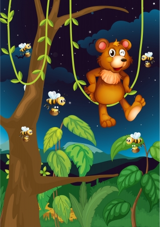 Illustration of a bear and bees in the forest Stock Vector - 17821613