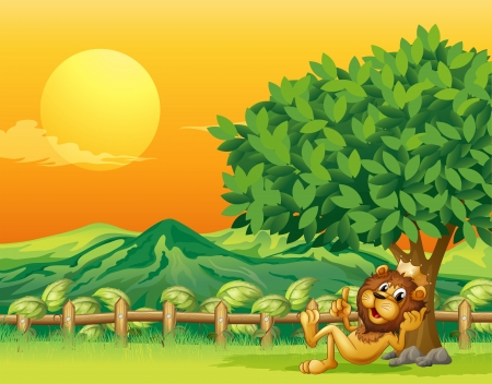 Illustration of a king lion inside the wooden fence Illustration