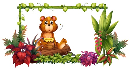 Illustration of a bear above a trunk in the garden on a white background Stock Vector - 17821722