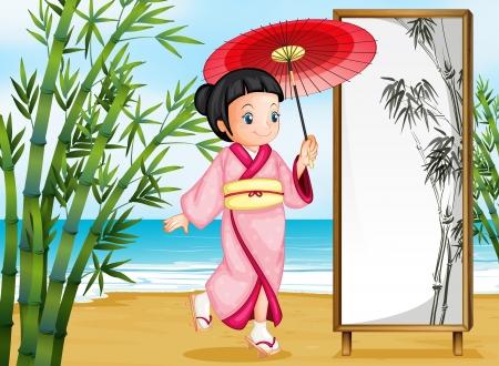 Illustration of a girl in a kimono attire Vector