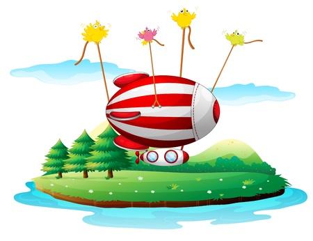 luftschiff: Illustration eines Luftschiffes über einer Insel auf einem weißen Hintergrund