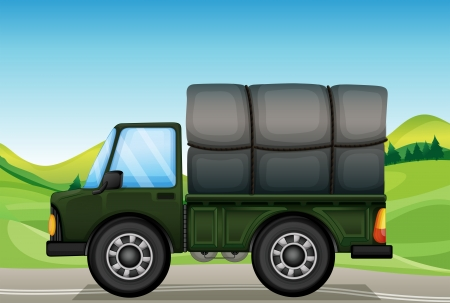 Illustration of a military truck in the road