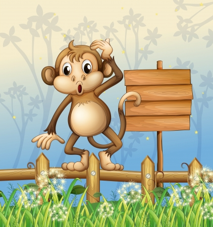 Illustration of a monkey standing in a fence beside an empty board Vector
