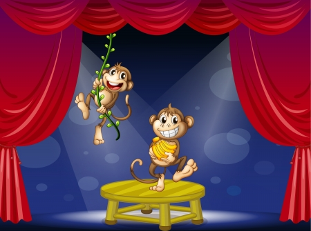 Illustration of two monkeys performing on the stage Vector