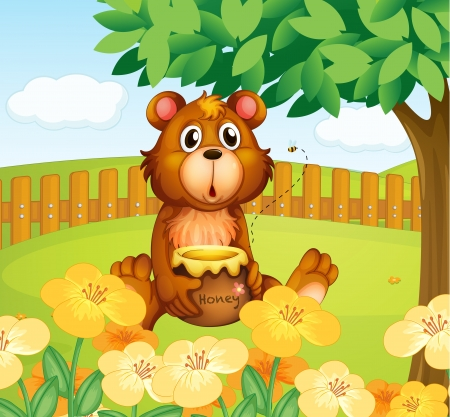Illustration of a bear inside the wooden fence Stock Vector - 17821575