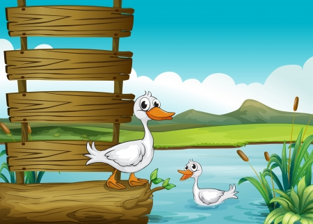 Illustration of an empty signboard with ducks Vector