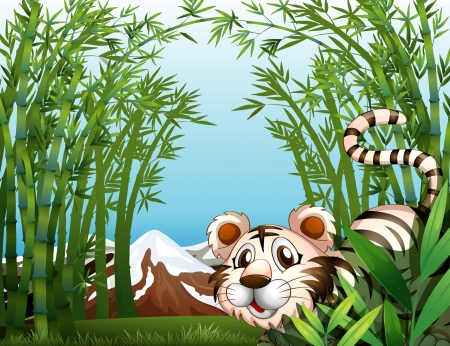 Illustration of a tiger in a bamboo forest Stock Vector - 17821616