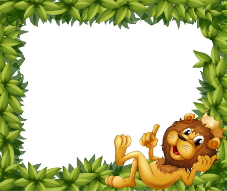 Illustration of a lion with a crown in a leafy frame Vector