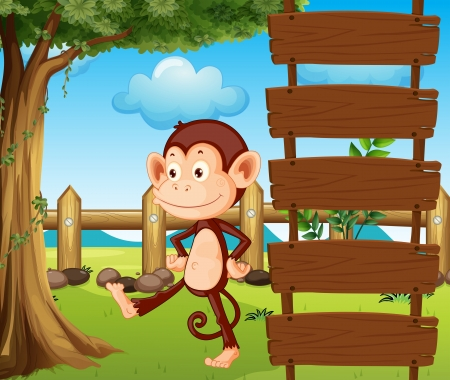 Illustration of a monkey beside a wooden signage Vector