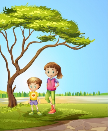 Illustration of a girl with a young boy Stock Vector - 17821633